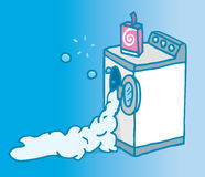 Too much soap on open washing machine Royalty Free Stock Photo
