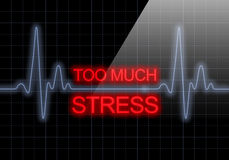 TOO MUCH STRESS written on black heart rate monitor Royalty Free Stock Photos