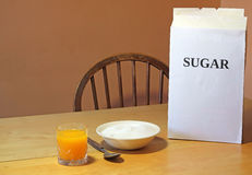 Too much sugar in cereals for breakfast. Stock Image
