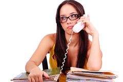 Too much work. A stressed businesswoman has a headcahe royalty free stock image