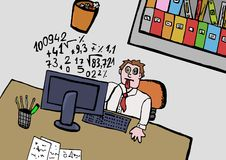 Too much work. Image of a stressed worker Stock Images