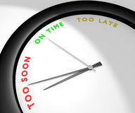 Too Soon. A wall clock says 'too soon' symbolizes impatience, anxiety... Other pics of the same set: 'on time' and 'too late'. Computer generated image Royalty Free Stock Photo