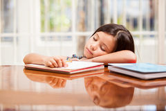 Too tired for homework Royalty Free Stock Photos