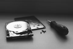 Took apart the hard drive from the computer, HDD drive, stock photography