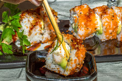 Took of uramaki with tempura shrimp Royalty Free Stock Photos