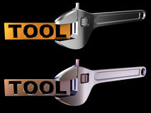 Tool. A wrench or spanner is a tool used for to hold the tablet with an inscription the tool. Computer generated image (3d render Royalty Free Stock Photo