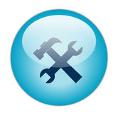 Tool. Blue Glossy Tool icon Button Stock Photography