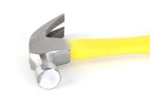 Tool. Isolated yellow hammer on side stock images