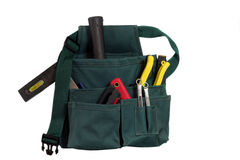 Tool Bag. Green tool bag with tools on white background Royalty Free Stock Photo