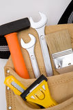 Tool bag. Close up with full of construction equipments royalty free stock image