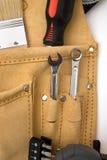 Tool bag. Construction equipment tool bag close up on white stock photos