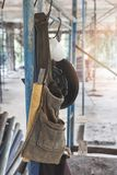 Tool Bag hang on scaffold. In construction site royalty free stock image