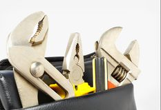 Tool Bag with Isolated on gray background. Tool Kit. Tool Box stock photos
