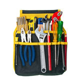 Tool Belt. With assorted tools on white background royalty free stock photos