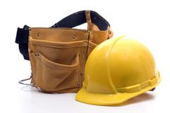 Tool Belt And Hard Hat Royalty Free Stock Images
