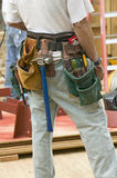 Tool belt of carpenter Royalty Free Stock Photography