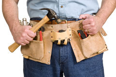 Tool Belt On Construction Worker  Royalty Free Stock Images
