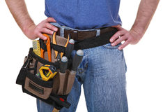 Tool belt detail of mantool. Belt tool, detail of manual worker isolated on white Royalty Free Stock Image