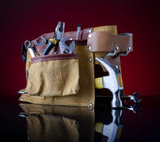 Tool belt and hammer Royalty Free Stock Images