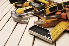 Tool belt and tools royalty free stock photos