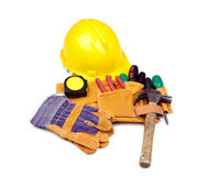 Tool belt with hardhat and gloves Royalty Free Stock Images