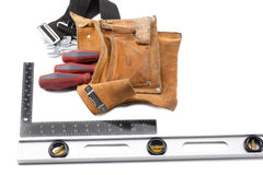 Tool belt with libela and set square Royalty Free Stock Photo
