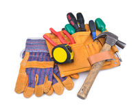 Tool belt and protective gloves Stock Photography