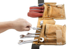 Tool belt with spanner and screwdriver Royalty Free Stock Photos