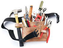 Tool belt with tools. Against white background Royalty Free Stock Photography
