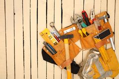 Tool belt and tools Royalty Free Stock Image