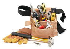 Tool belt and tools. Variety of tools with tool belt on white background stock image