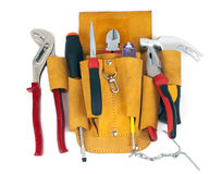 Tool belt. Worker's tool belt on white background royalty free stock images