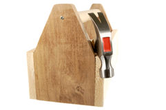 Tool Box. Wooden tool box with a hammer isolated on a white background Stock Images
