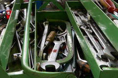 Tool box. Wrenches and other tools in green tool box stock photo