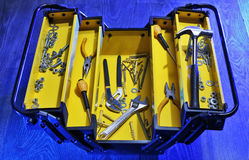Tool box. Open tool box with home tools royalty free stock image