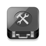 Tool box. Icon of shiny black tool box on white background Royalty Free Stock Photos