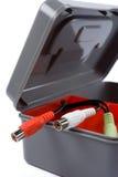 Tool box with audio plugs Stock Photo