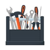 Tool box with collection of carpentry, mechanic, locksmith tools. Wrench, screwdriver, hammer, rasp, pliers. Vector illustration,. Tool box with collection of Stock Photos