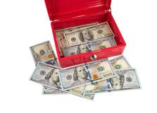 Tool Box and dollars. Isolated on a White Background Royalty Free Stock Images