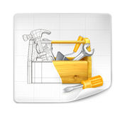 Tool box drawing Royalty Free Stock Photo