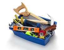 Tool Box. Filled with work tools on white Royalty Free Stock Images