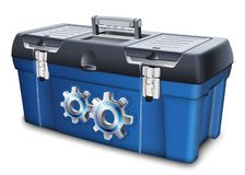 Tool box with gears label. Vector illustration. Isolated on white background royalty free illustration