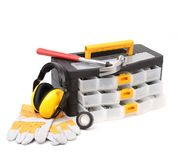 Tool box gloves and hammer. Royalty Free Stock Image