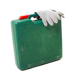 Tool box with gloves isolated on white Stock Image