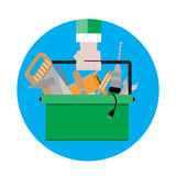 Tool box icon. Vector. Toolbox with instrument, illustration tool kit sign flat design royalty free illustration