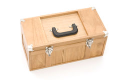 Tool Box Isolated. Wooden Tool Box Isolated Against White Background Stock Photography