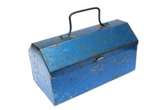 Tool box isolated on white background. Old blue metal closed tool box isolated on white background Royalty Free Stock Image