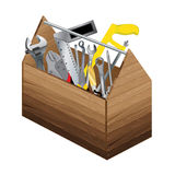 Tool box with object tool on white background. Wooden tool box and screwdriver with wrench. Royalty Free Stock Photo