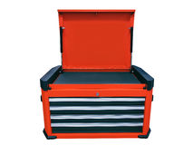 Tool box. Orange tool box isolated on white background Stock Photography