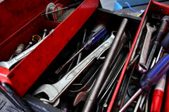 Tool box. Screw wrenches and other tools in red tool box for service man Stock Photo